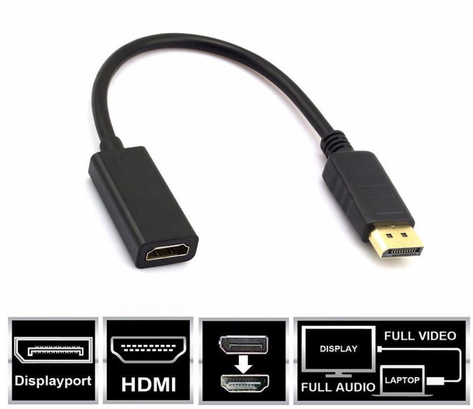 Displayport DP Stecker zu HDMI Buchse Video Adapter Konverter Kabel für PC Neu