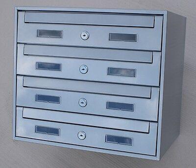 4er  4-fach und andere Briefkastenanlage Verzinkt , Einbau Aufputz,  Silber