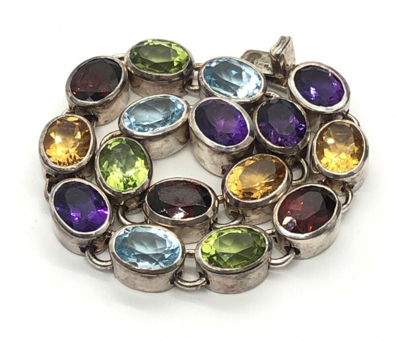 "Doug Paulus Sterling Silver Bracelet India 7"" Gemstone Topaz Amethyst Garnet"