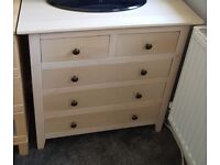 3+2 drawers Beech finish wood chest of drawers - good condition
