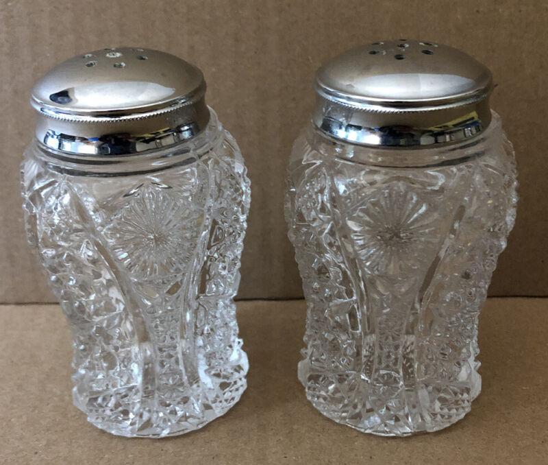 "Vintage Cut Glass Salt & Pepper Shakers 3.25"""