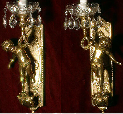 2 Vintage gilt bronze Italy cherub figurine Empire sconces lamp crystal brass