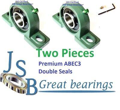 Qty.2 Premium Ucp208-24 Double Seals Abec3 Pillow Block Bearings Bore 1-12