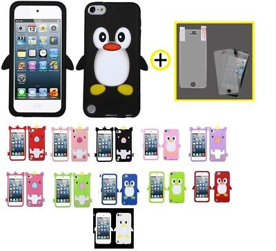 Animal Rubberized Silicone Skin Case +Screen Cover For iPod Touch 5th ()