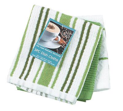 3 Piece Set Kay Dee Designs MEADOW GREEN Cotton Dishcloths