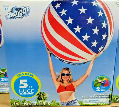 H2OGo Huge Giant Beach Balls Two Pack Both Beach Balls are 5 Feet Free Shipping