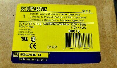 Square D 8910dpa53v02 Definite Purpose Contactor 3 Pole 600v Series B New