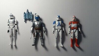 "STAR WARS FIGURES.  4"" CHARACTERS JANGO FETT PLUS CLONE TROOPERS USED"