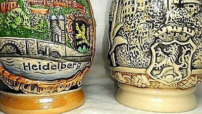 2 Old Heidelberg Germany Beer Beir Stein Pair Two 5.25
