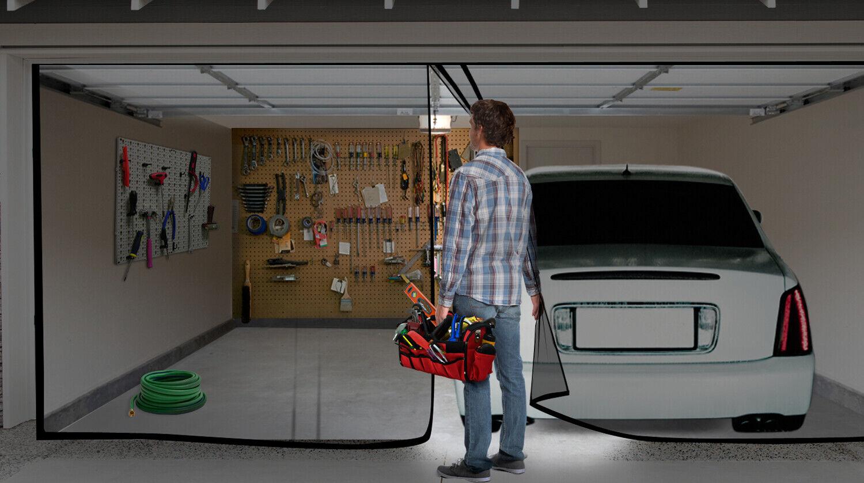 Double Garage Door Screen Magnet Bottom Insect Bug Mesh 16ft. x 7ft NEW 1