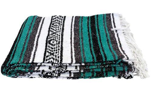 Mexican Blanket Teal Green Turquoise Serape Throw Yoga Boho Falsa Blanket XL