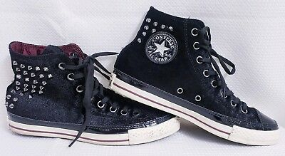 CONVERSE Chuck Taylor High Top Black Velvet Spikes Shoes sz M7/W9 All Star