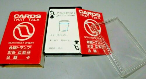 Northwest Orient Airlines Translators Deck of Playing CARDS THAT TALK 1970 NWA