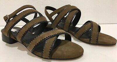 Anthropologie Elysess Strappy Sandals Brown Suede Leather Size 8 38 - Spain