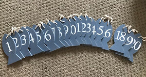 Wedding table numbers wooden fish - slate/dusty blue