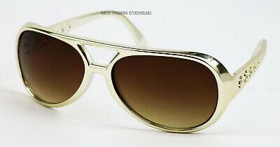 Elvis Gold Brown Vintage Style Aviator Sunglasses Retro Metallic Large BIG - Elvis Gold Sunglasses