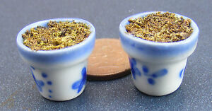 2-Filled-Blue-White-Round-Ceramic-Flower-Plant-Pots-Dolls-House-Miniature