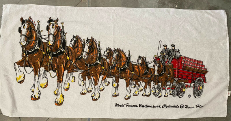 """VINTAGE BUDWEISER BEER CLYDESDALE 8 HORSE HITCH  BEACH TOWEL 57.5"""" x 27.5""""  HTF"""
