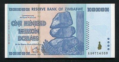 2008 100 TRILLION DOLLARS RESERVE BANK OF ZIMBABWE, AA P-91 GEM UNCIRCULATED