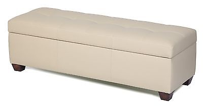 King Size Storage Bench in Bone Genuine Leather, Tufted Ottoman - Bed Chest