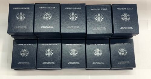 (5)   FIVE  US Mint American Eagle 1 Oz Silver Proof Empty Boxs w  COA .NO COINS