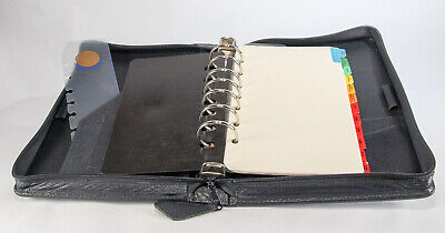 Franklin Quest Dark Blue Leather Zipper Classic 7 Ring Planner W Contents