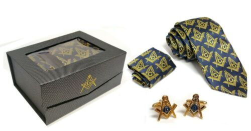 Freemasons Masonic Square Neck Tie Cuff links Handkerchief Gift Set Elegant NEW