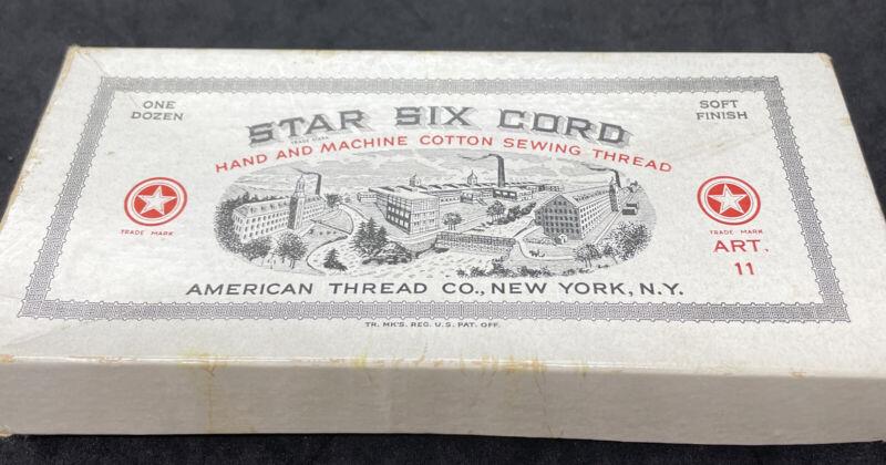 Vtg Orig Cardboard Box of Star Six Cord Thread American Thread Co. Blue Pink