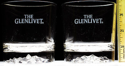 Glenlivet Diamond Cut Base Rocks Glasses Lot of 2 Tumbler Scotch Whisky Whiskey
