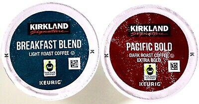 Light Cups (Kirkland Signature Coffee Keurig K-Cups, Pacific Bold Dark or Breakfast)