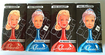 CLUEDO? 4 pks POCKET TISSUES 3-ply 10 TISSUES Miss Scarlett Mrs Peacock MYSTERY