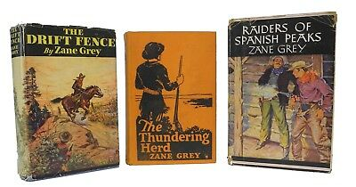 3 Zane Grey Books - Drift Fence - Raiders of Spanish Peaks - Thundering Herd for sale  Shipping to Canada