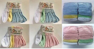 Infant Baby 6 18 Mo Socks Girls Boys Pink   Blue White Yellow Green 6   12 Pair