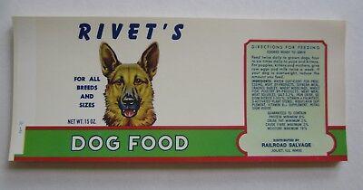 Wholesale Lot of 50 Old Vintage RIVET'S DOG FOOD Can LABELS - German Shepherd