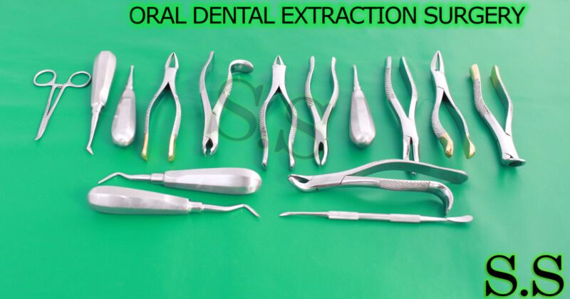 31 Pcs ORAL DENTAL EXTRACTION SURGERY EXTRACTING ELEVATORS FORCEPS INSTRUMENTS