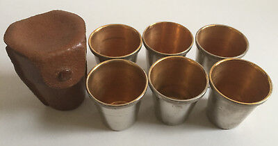 Antique Leather Cased Set Six Silver Plate & Gilt Hunting/Shooting Stirrup Cups1