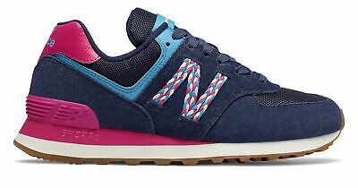 New Balance Women's 574 Shoes Blue with Red & Blue