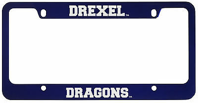 Drexel University  Metal License Plate Frame Blue