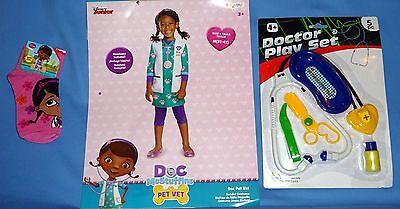 Disney Doc McStuffins Pet Vet costume girls 3T-4T-NWT socks;Doctor Play Set-LOT  - Vet Costume