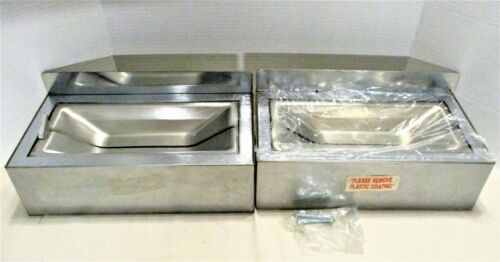 2 Industrial Commercial Wall Mount Stainless Steel Flip Top Ashtrays NEW
