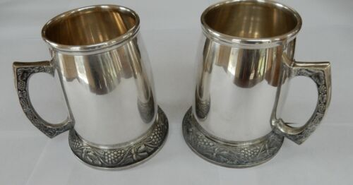 Two Vintage Silver-Plated Pint Beer Mugs / Tankard / Steins