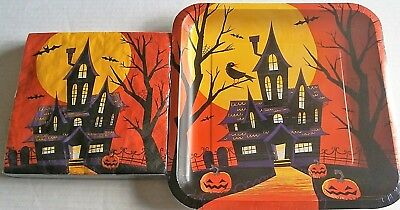 HALLOWEEN Paper Plates & Napkins  SPOOKY STREET (Halloween Paper Plates)