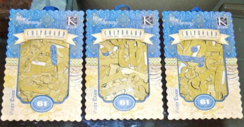 K&Company 3 BOXES GLITTER CHIPBOARD ALPHABET 183 PC TOTAL TAN BLUE  DOUBLE-SIDED