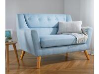 Lambeth Fabric 2 Seater Sofa duck egg blue, as new