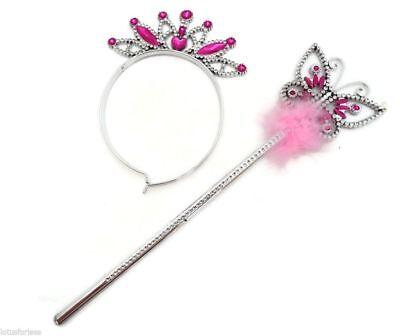 Butterfly Princess Fairy Wand and Tiara Girls Wand Ribbons Fancy Dress (Butterfly Girl Kostüm)