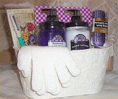 Gift Basket Mason Jar Lotion Soap Pump Hair Brush Note Cards Pen Nail Care  ()