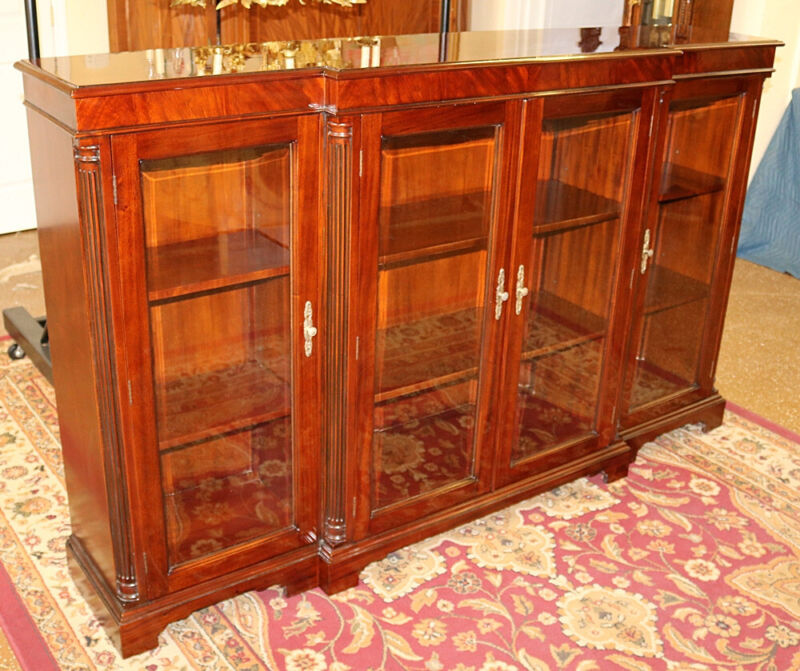 Gorgeous Flame Mahogany Four Door Bookcase Cabinet With Beveled Glass Doors