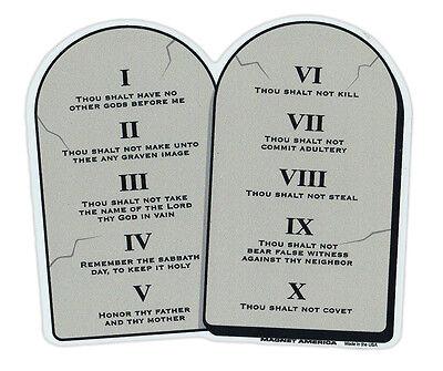 Magnetic Bumper Sticker - 10 Commandments on Stone Tablets - Religious Magnet (10 Commandments Tablets)