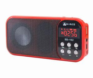USB/TF Card MP3 Player Portable FM Radio Digital Speaker W/ Stand Hi-Rice SD-102