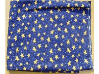 FABRIC - BLUE / GOLDEN STARS Hedgehog products, Cotton material, lightweight. COLLECTION or DELIVERY